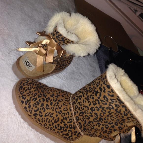 ugg shoes   size 4 kids s bailey bow in cheetah print   poshmark