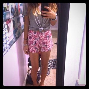 Pink Floral Shorts (0/XS ASOS)