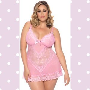 Other - Pink babydoll flirty plus size lingerie ohla14