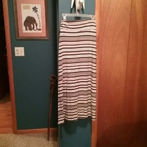 Green & white striped maxi skirt