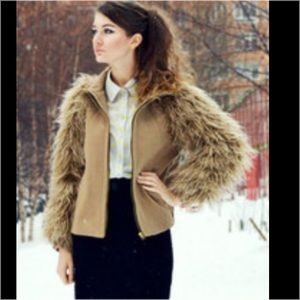 New ZARA yeti fur camel coat small faux jacket