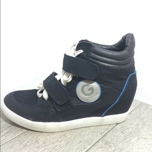 """G by Guess Shoes - G By Guess Sneaker 3"""" Wedge GGPower Black/Blue 10"""