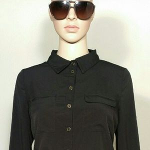 BCBGMAXAZRIA Womens Black Button Down Blouse Shirt