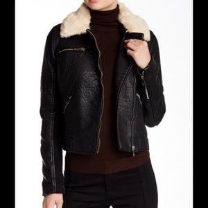 Love Token Jackets & Blazers - Love Token Faux Fur Collar Faux Leather Jacket