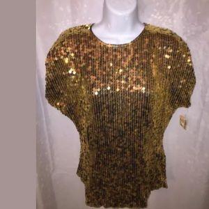 NWT size MEDIUM metallic gold sequinned silk top