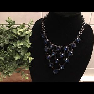 blue gem statement necklace 