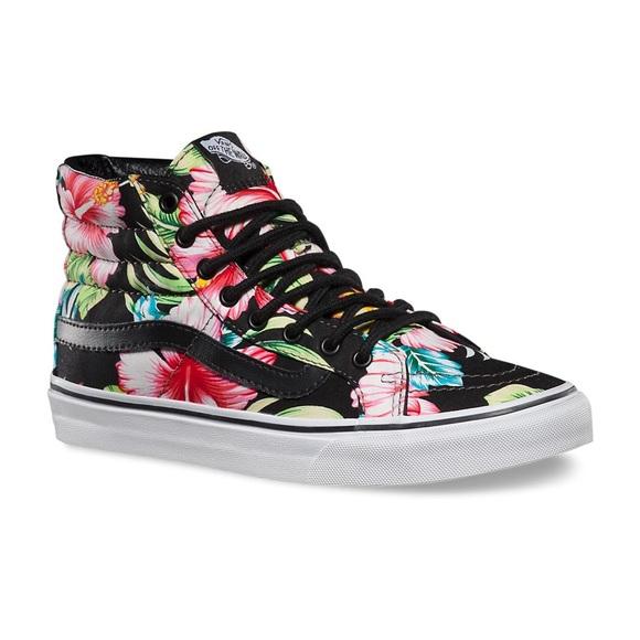 c65ee0478f Vans sk8 hi slim Hawaiian floral size 9