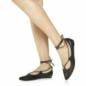 NIB justfab black lace up pointed toe flats size 9