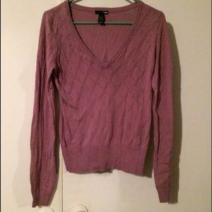 Violet Purple Neck Diamond Weave Sweater