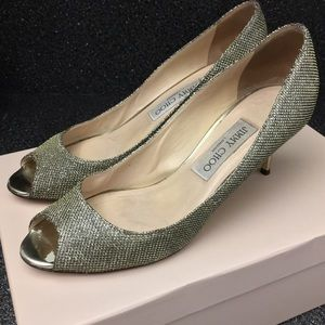 Jimmy Choo Shoes - Jimmy Choo Isabel $625 Bronze Lame Glitter Heels