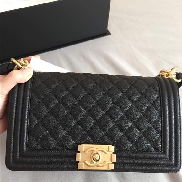 a602b361b64 Chanel Boy Bag Caviar Black Medium