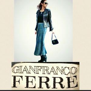 Gianfranco Ferre Dresses & Skirts - Gianfranco Ferre VTG Denim Blue Suede Maxi-Skirt