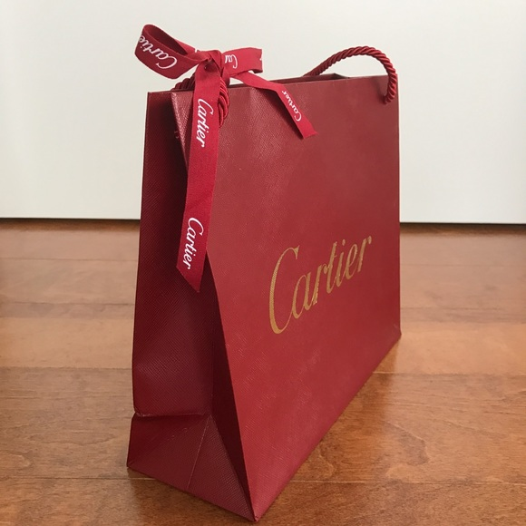 73% off Cartier Other - Cartier red paper shopping bag size small ...