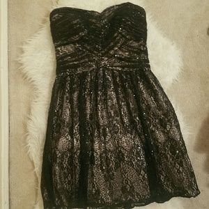 Black Laced & Sequined Formal Dress