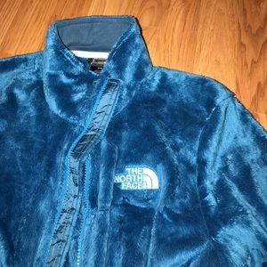 North Face furry jacket in a charming blue shade