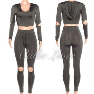 Callie Lives Pants - Charcoal Bodycon Crop Top Hoody Legging Jogger Set