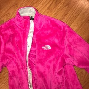 NWOT pink furry north face jacket!