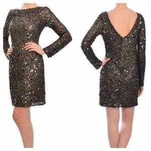 Aidan Mattox Long-Sleeve Sequin Dress -Black, Sz 6