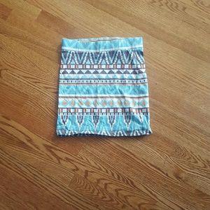 Aztec Print Body Con Skirt