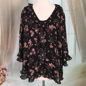 Emma James Tops - Emma James Black Floral 2 Piece Blouse Set