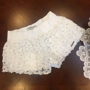 Abercrombie & Fitch White Crochet Layered Shorts