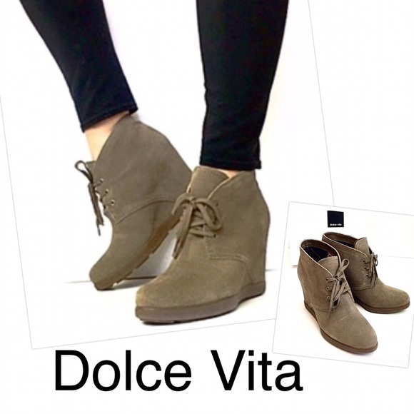 af822c185450 Dolce Vita Pascola Taupe Suede Wedge Ankle Boot