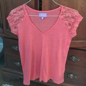 Alcott Tops - Short sleeved coral top