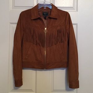 Tan Faux Suede Fringed Jacket, Size Small