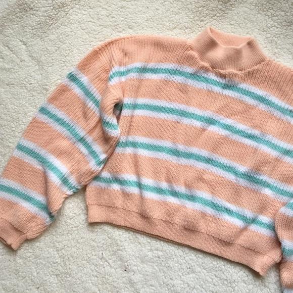 Mock Turtle Neck Pastel Cropped Striped Sweater