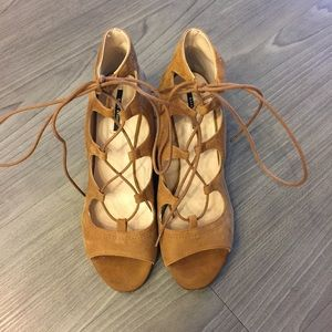 Zara Tan Lace Up Wedges Size 8