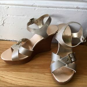 Banana Republic Gold Leather Wedges