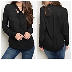 Tops - ✨SALE Sexy Choker Tie Neck Blouse Black Top Small
