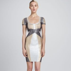 Metallic Silver and Gold Dress Herve Leger