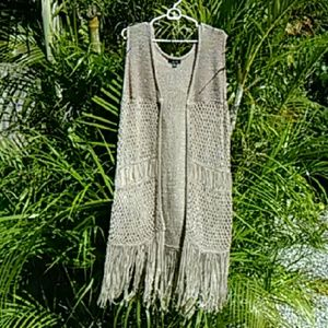 Long Retro Fringe Vest NWOT One Size Fits All