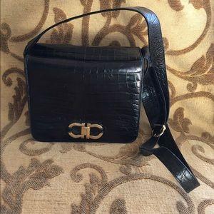 Black leather croc ferragamo purse