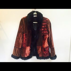 Gorgeous embroidered red velvet jacket
