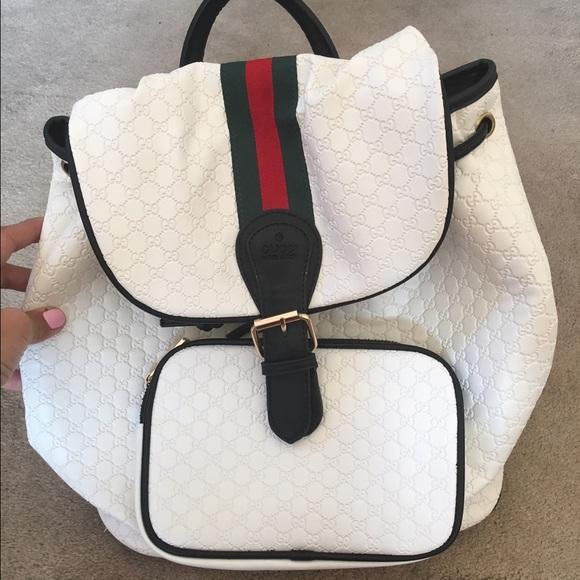White green red Gucci backpack book bag 619b4a9e537ba