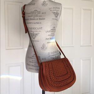 Handbags - NWT Perforated Detail Cognac Crossbody Bag