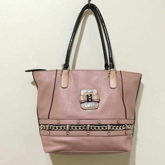 8b8ab2e1d7 Guess Handbags - Pink   Black Studded Bow Chain Guess Handbag