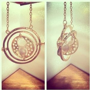 Unique Hourglass Gyroscope Gold Necklace Boho Chic