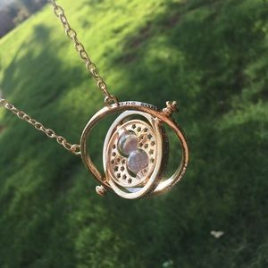 Unique Gyroscope Hourglass Gold Necklace Boho Chic