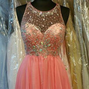 Dresses & Skirts - Bright Coral Illusion Dress