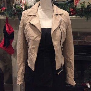 H&M motorcycle biker faux suede jacket us 2