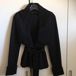 Zara Basic Black Peplum Moto Style Jacket W/Sash