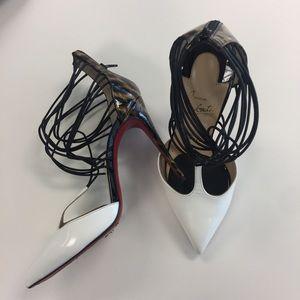 """Christian Louboutin Shoes - """"Confusa"""" Leopard White T-Strap Pumps"""