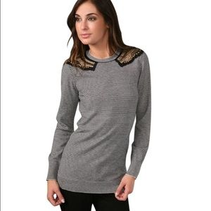 AKA New York Sweaters - AKA New York stripe sweater with metal accents