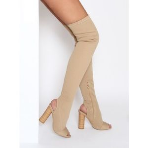 Brand New Beige peep toe knitted thigh high boot