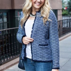 J. Crew Jackets & Blazers - J.Crew Tweed Sweater-Jacket with Fringe Trim