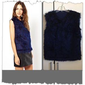 Asos Cobalt Blue Faux Fur Sleeveless Top