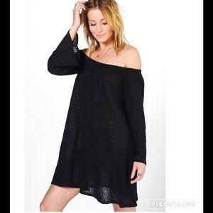 ASOS Tops - NWT Off Shoulder Black Knitted Dress Top Sz 8